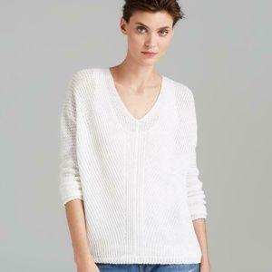 Vince Optic White Double V-Neck Linen Knit Sweater